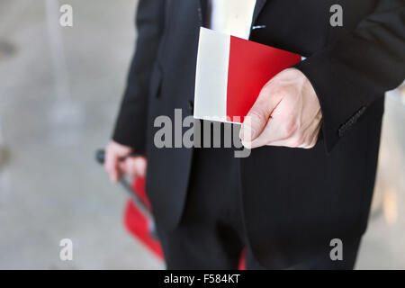 passport control in the airport, business travel and immigration - Stock Photo
