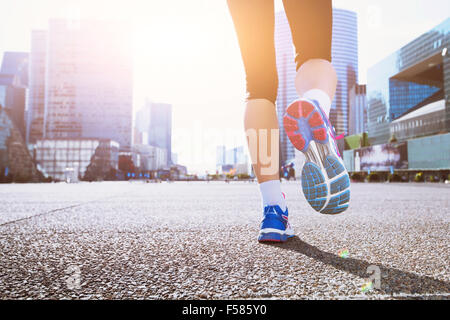 running in the city - Stock Photo