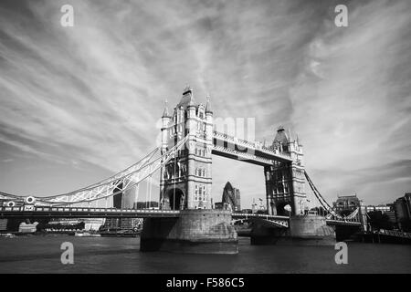 monochrome view of Tower Bridge in London - Stock Photo
