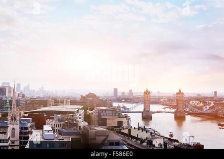 panoramic view of London, sunrise over Tower Bridge - Stock Photo