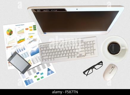 image of business and financial report on grey desk - Stock Photo
