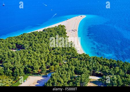 Croatia, Dalmatia, Brac island, Bol, Zlatni Rat (Golden Cape) beach - Stock Photo