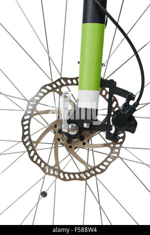 Closeup of front hydraulic disk brake and shock absorber fork of mountain bike, isolated on white - Stock Photo