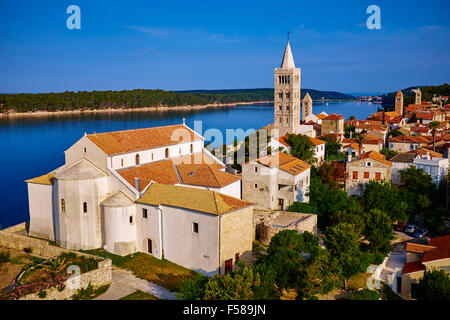 Croatia, Kvarner bay, island and city of Rab, succession of bell towers - Stock Photo