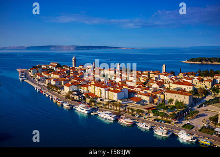 Croatia, Kvarner bay, island and city of Rab, old harbour - Stock Photo