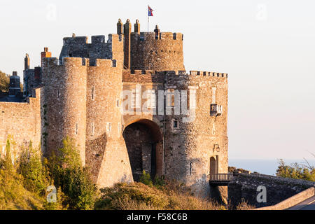 England, Dover castle. The imposing Constables Gate, side view with sunset light on the walls during the golden - Stock Photo