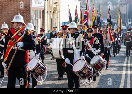 England, Ramsgate. November Remembrance Sunday Ceremony. Air-force youth band marching in parade in street towards - Stock Photo