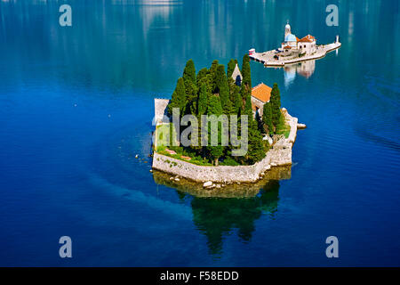Montenegro, Adriatic coast, Bay of Kotor, Perast, Island of St. George and Our Lady of the Rock island - Stock Photo