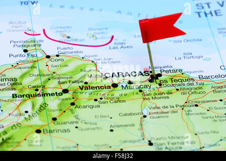Caracas pinned on a map of Venezuela Stock Photo 122146917 Alamy