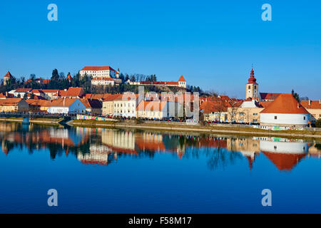 Slovenia, Lower Styria Region, Ptuj, town on the Drava River banks - Stock Photo