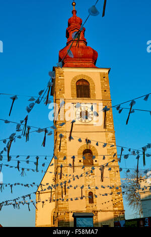 Slovenia, Lower Styria Region, Ptuj, town on the Drava River banks, the City Tower - Stock Photo