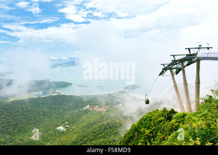 View from the top observation deck of Langkawi Cable Car attraction, Langkawi Island, Malaysia. - Stock Photo