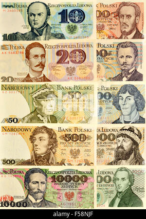 Polish banknotes (pre-1995) showing historical figures. By denomination:  Josef Bem (10) Romuald Trugutt... (see - Stock Photo