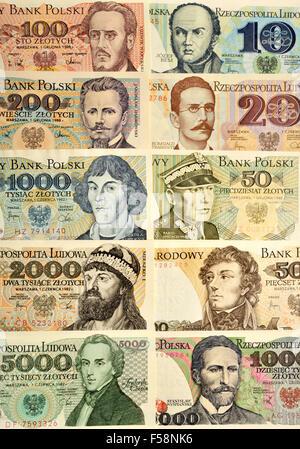 Polish banknotes (pre-1995) showing historical figures. By denomination: Josef Bem (10) Romuald Trugutt... (see - Stock Photo