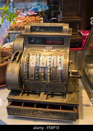 Old antique cash register till, Spain - Stock Photo