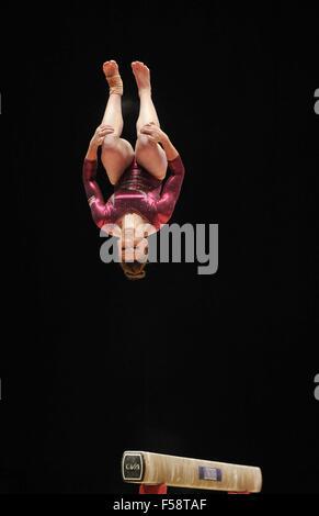 Glasgow, Scotland, UK. 29th October, 2015. Ruby Harrold (GBR) . Womens All-Around final. 2015 FIG artistic gymnastics - Stock Photo