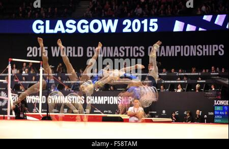 Glasgow, Scotland, UK. 29th October, 2015. multiple exposure of the floor exercise. Womens All-Around final. 2015 - Stock Photo
