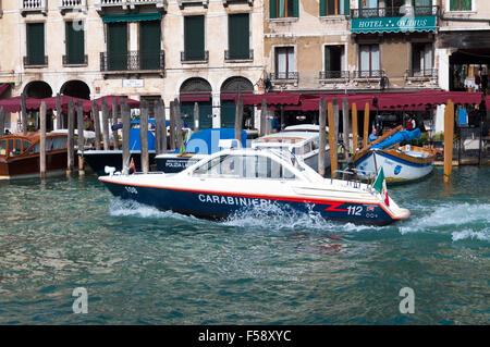 Carabinieri patrol boat on Grand Canal, Venice, Italy - Stock Photo
