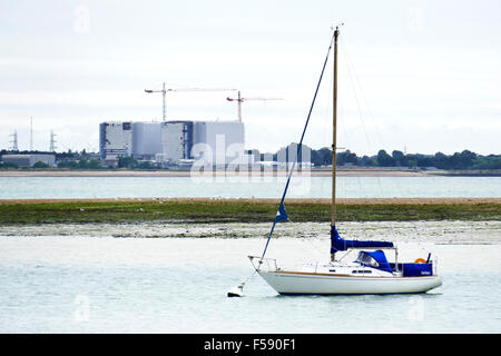 Bradwell nuclear power station Essex, photographed from West Mersea, Mersea Island looking across the river Blackwater - Stock Photo