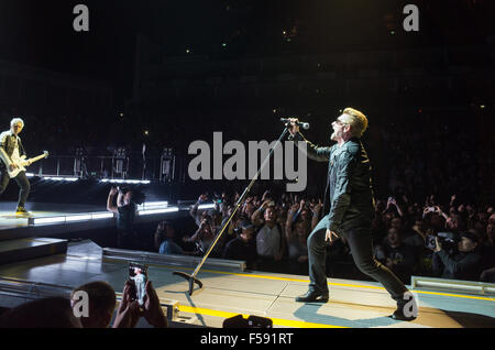 Bono and Adam from U2 at London O2 performing live on the Innocence and Experience tour - Stock Photo
