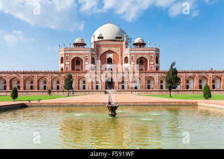Delhi, India - 19 September, 2014:  Daytime view of Humayun's Tomb, UNESCO World Heritage on 19 September 2014, - Stock Photo