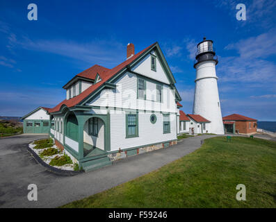 Portland head lighthouse off the coast of Maine, during the summer season - Stock Photo