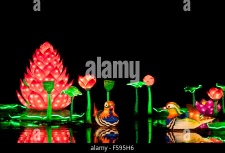 Elaborate Chinese lanterns on display at Longleat's Festival of Light 2014 - Stock Photo