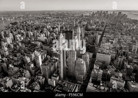 Black and white aerial view of New York City skyscrapers with Midtown, Chelsea, East Village and Lower Manhattan. - Stock Photo