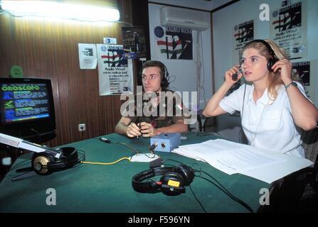 War in ex Yugoslavia, Kosovo crisis, the studios of broadcasting station Radio West, organized by the Italian army - Stock Photo