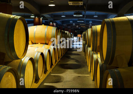Cellar with rows of wine barrels in a Bulgarian winery - Stock Photo