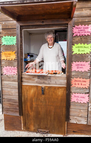 Freshly caught crabs and lobsters being sold at the Lobster Hut in the harbour in the fishing village of Crail in - Stock Photo