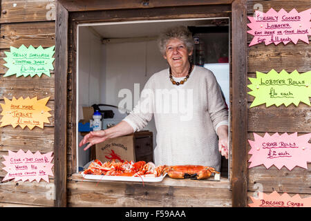 Freshly caught crabs & lobsters being sold at the Lobster Hut in the harbour in the fishing village of Crail, Fife, - Stock Photo