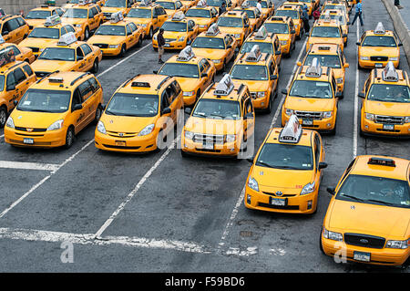 A bunch of taxis waiting at LaGuardia airport. - Stock Photo