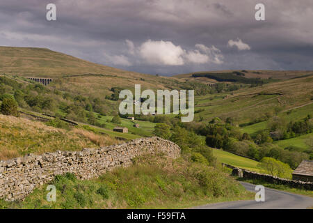 Dentdale vista from Lea Yeat Brow, Cumbria, England, UK - scenic panorama of hilly uplands & green pasture lowlands, - Stock Photo