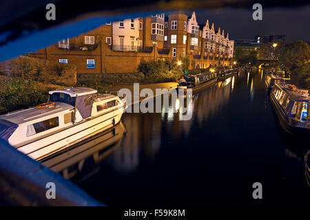 Canal Old Line Boats at Night View From the Bridge - Stock Photo