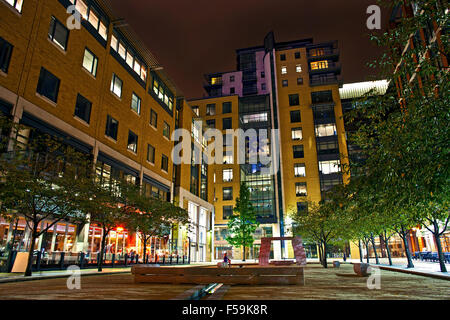 Brindley Place Buildings near by Central Square view Featuring RBS and Piccolinio Restaurant at Night - Stock Photo