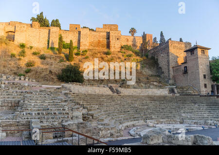 Roman amphitheatre and Alcazaba fortress, Malaga, Andalusia, Spain Stock Phot...