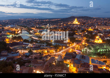 Overview of the historical center of Tibilisi at dusk. Georgia - Stock Photo