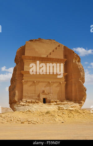 Qasr al Farid, biggest tomb in Archeological site Mada'in Saleh, saudi arabia - Stock Photo