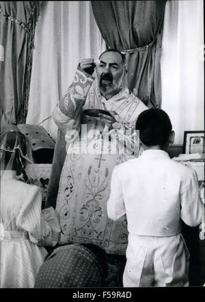 1972 - Picture Shows:- Padre Pio when reading Mass, at the Capuchin Church at San Giovanni Rotondo. Publifoto Milan. - Stock Photo