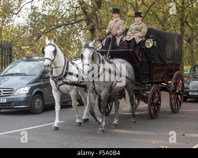 A horse and carriage on Birdcage Walk near Buckingham Palace in central London - Stock Photo