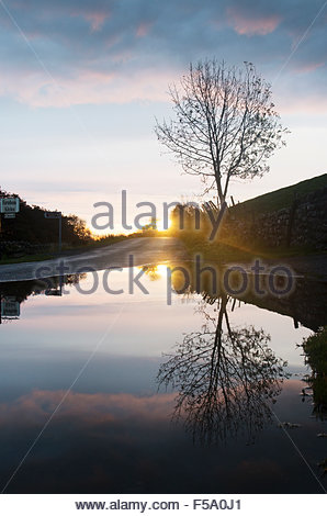 Holwick, Middleton-in-Teesdale, Co Durham, UK. 31st October 2015. Weather: After the overnight rain the sun rises - Stock Photo