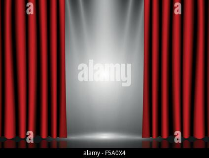 Red curtains on lighting stage, VECTOR, EPS10 - Stock Photo