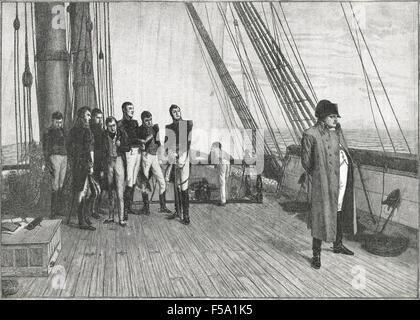 Napoleon in exile on board HMS Bellerophon in 1815 - Stock Photo