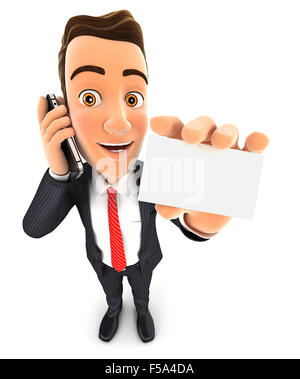 3d businessman on the phone and holds blank card, isolated white background - Stock Photo