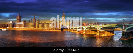 The Palace of Westminster and Westminster Bridge - Stock Photo
