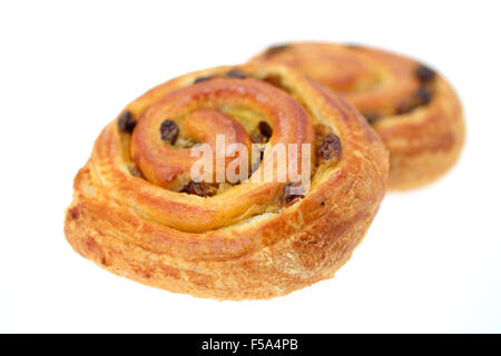 Pain au raisin pastries - studio shot with a shallow depth of field - Stock Photo