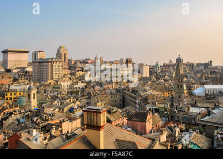 Aerial view of the downtown of Genoa during the sunset - Stock Photo