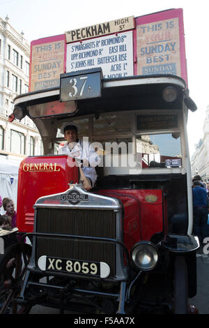 Regent Street London,UK,31st October 2015,AEC-K type centenary London General omnibus 37A bus parked in Regent street - Stock Photo