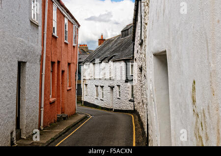Pastel coloured terraced cottages stand on each side of a narrow street in the historic market town of Totnes - Stock Photo